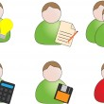 Six web icons (person symbols) — Stock Vector #35315793