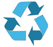 Blue recycle icon — Stock Vector