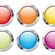 Set of six glossy buttons in various colors — Stock Vector