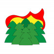 Forest in fire icon — 图库矢量图片