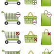 Shopping basket, cart and bag icons — Stock Vector