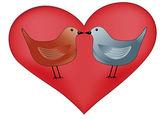Coração com pássaros — Vetor de Stock