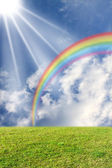Sun and rainbow on the meadow — Stock Photo