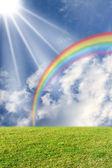 Sun and rainbow on the meadow — Stock Photo
