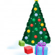 Xmas tree with presents — Stock Vector