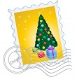 Christmas postage stamp — Stock Vector
