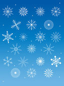 Snowflakes collection on blue background — Stok Vektör