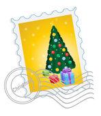 Christmas postage stamp — Stock Vector