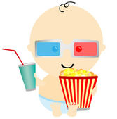 Baby in 3D cinema — Stock Vector