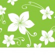 White eco flowers on green background — Imagen vectorial
