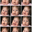 Collage of little baby girl emotions — Zdjęcie stockowe