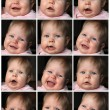 Collage of little baby girl emotions — Stock Photo