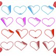 Set of heart stickers — Stock Vector