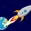 Rocket In the space — Stock Vector