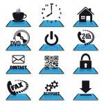 Modern blue icons — Wektor stockowy