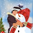 Snowman and young girl — Stock Vector