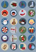 Noel düz simgeler kümesi — Stok Vektör