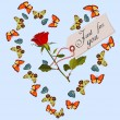 Abstract frame of butterflies, Valentine Day card — Stock vektor