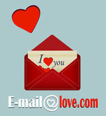 E mail , love .com — Stock Vector