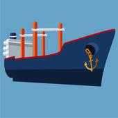 Cargo ship flat illustration. — Stock Vector