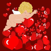 Cupidon with hearts — Stock Vector