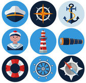 Nautical flat icons set — Stock Vector