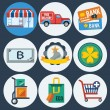 Stock Vector: Shopping flat icons