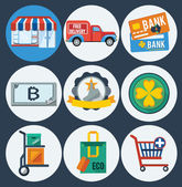 Shopping flat icons — Stock Vector