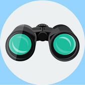 Binoculars, Flat Icon — Stock Vector