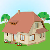 Home Exterior, house with fireplace and plants — Stock Vector