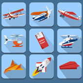Set of transport flat icons - airplane — Stock Vector