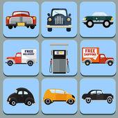 Car icon flat illustration -set — Stock Vector