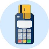 Flat credit card and card reader — Stock Vector