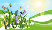 Wiosną w tle — Wektor stockowy