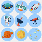 Space Icon set-  flat illustration — Stock Vector
