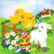 Easter egg hunt Two cute chicks, a lamb and a duck, — Stock Vector #41953709