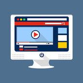Video sharing flat illustration — Stock Vector