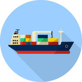Tanker cargo ship with containers — Stock Vector