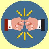 Fist bump flat icon — Stock Vector