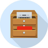 File Cabinet with Documents -drawer icon — Stock Vector