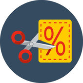 Scissors cutting through coupon dotted line — Stockvektor