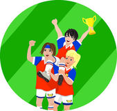 Football players holding golden trophy — Stok Vektör