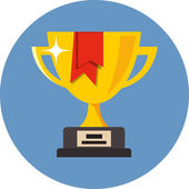 Vector Trophy Cup with red ribbon — Stock Vector