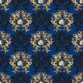 Elegant Vintage blue - gold Wallpaper — ストックベクタ