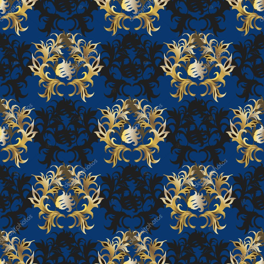 elegant vintage blue gold wallpaper stock vector fractal86 38905041. Black Bedroom Furniture Sets. Home Design Ideas