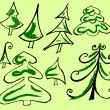 Christmas tree icons set — Imagen vectorial