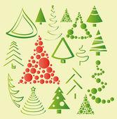 Vánoční stromy kolekce — Stock vektor