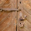 Old wooden door with rusty iron hinges and handle — Stock Photo