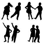 Children dancing set — Stock Vector