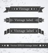 Black ribbons with retro vintage styled design — Cтоковый вектор